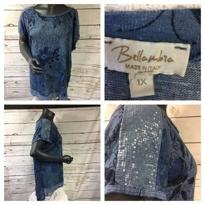 🛍5/$25 Bellambra Italy made in Blue Sequin Top